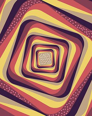 Mixed Media - Geometric Abstract Pattern - Retro Pattern - Spiral 4 - Violet, Magenta, Yellow, Beige by Studio Grafiikka