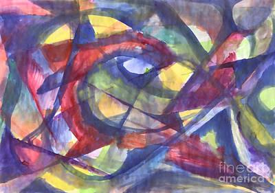 Painting - Geometric  Abstract Watercolor Painting. Kaleidoscope. by Irina Dobrotsvet