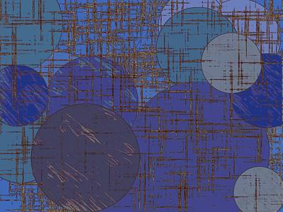 Sheep - Geometric Circle And Square Pattern Abstract In Blue And Purple by Tim LA