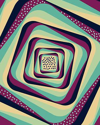 Mixed Media - Geometric Abstract Pattern - Retro Pattern - Spiral 1 - Blue, Violet, Wheat, Beige by Studio Grafiikka