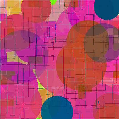 Pucker Up - Geometric Square And Circle Pattern Abstract In Pink Red Blue by Tim LA