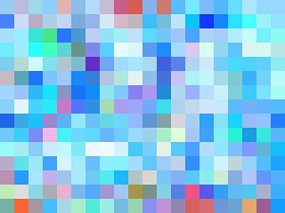 Valentines Day - Geometric Square Pixel Pattern Abstract Background In Blue Pink Purple by Tim LA