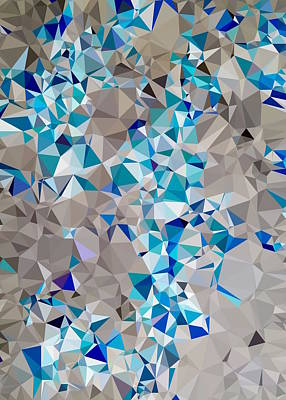 Soap Suds - Geometric Triangle Pattern Abstract In Blue And Black by Tim LA