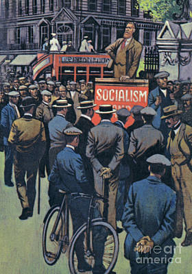 Painting - George Bernard Shaw Preaching The Great Idea Of Socialism by English School