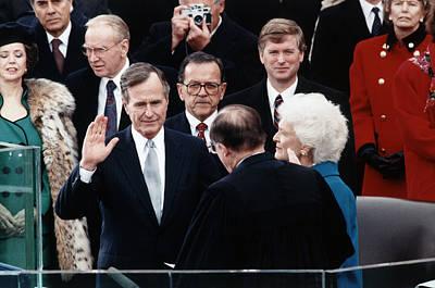 George Bush Wall Art - Photograph - George Bush Sr. Taking Oath - 1989 by War Is Hell Store