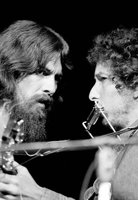 Photograph - George Harrison & Bob Dylan Performing by Bill Ray