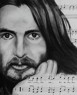 Musicians Drawings - George Harrison Here Comes the Sun by Tim Brandt