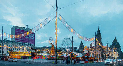 Digital Art - George Square Christmas Market Glasgow by Liz Leyden