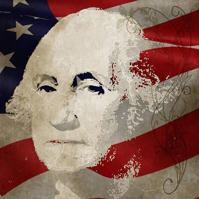 Painting - George Washington American Hero by Robert R Splashy Art Abstract Paintings