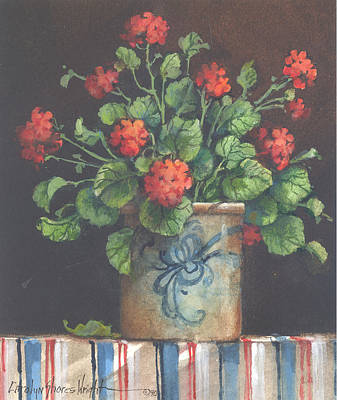 Wall Art - Painting - Geraniums II by Carolyn Shores Wright
