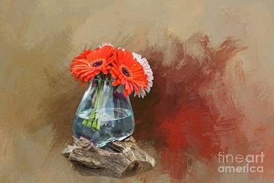 Mixed Media - Gerbera Daisies by Eva Lechner