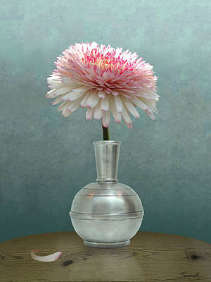 Digital Art - Gerbera Daisy In Pewter Vase by Spadecaller