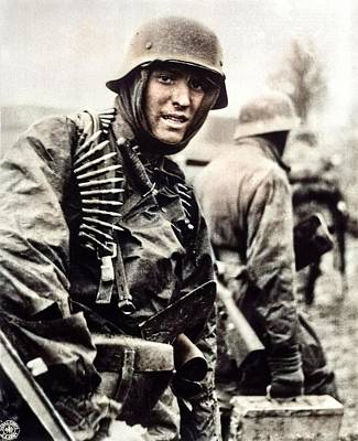 Food And Flowers Still Life - German machine gunner marching  by Artistic Panda