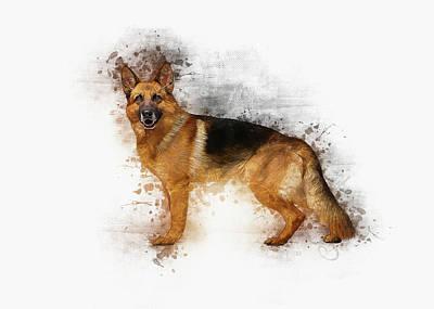 Digital Art - German Shepherd by Ian Mitchell