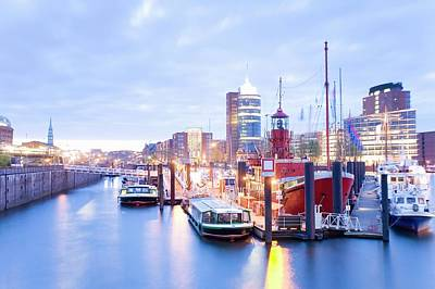 Photograph - Germany, Hamburg, Warehouse On Canal by Mel Stuart