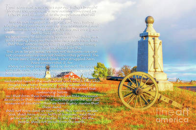 Digital Art - Gettysburg Address And Battlefield Rainbow by Randy Steele