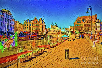 Painting - Ghent Belgium A18-18 by Ray Shrewsberry