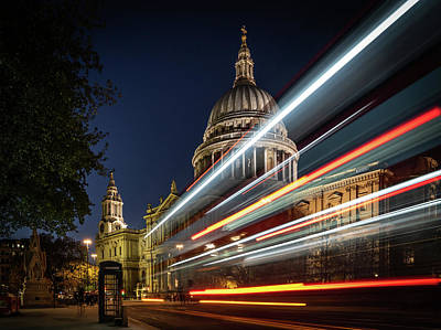 Photograph - Ghost Bus At St Paul's #2 by Framing Places