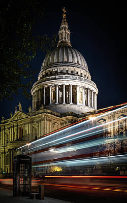 Photograph - Ghost Bus At St Paul's Portrait by Framing Places