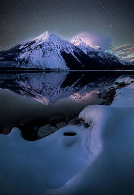 Photograph - Ghost In The Darkness / Lake Mcdonald, Glacier National Park  by Nicholas Parker