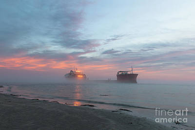 Photograph - Ghost Ship - Foggy Twilight by Dale Powell