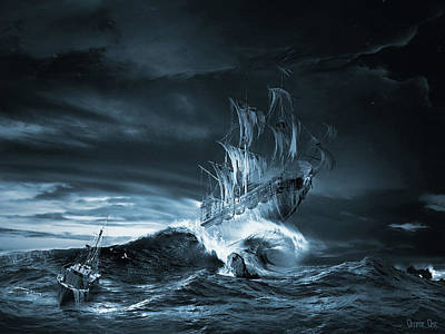 Digital Art - Ghost Ship Series The Ninth Wave Remake by George Grie