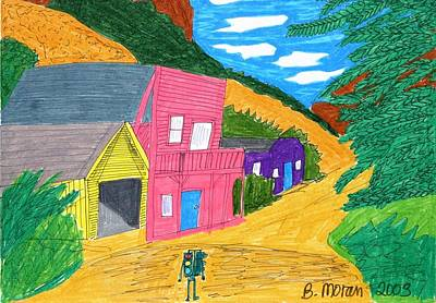 Drawing - Ghost Town by Barb Moran
