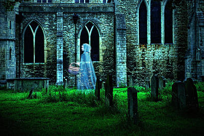 Photograph - Ghostly Figure Of Woman In Graveyard by Jacobs Stock Photography