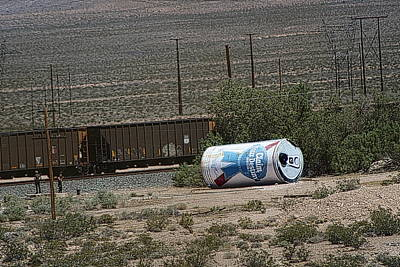 Photograph - Giant Beer Can In Nevada Desert Near Train Tracks by Colleen Cornelius