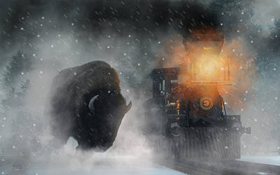 Art Print featuring the digital art Giant Buffalo Attacking Train by Daniel Eskridge