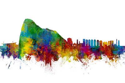 Digital Art - Gibraltar Skyline by Michael Tompsett