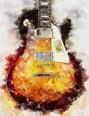 Painting - Gibson Guitar - 01 by Andrea Mazzocchetti