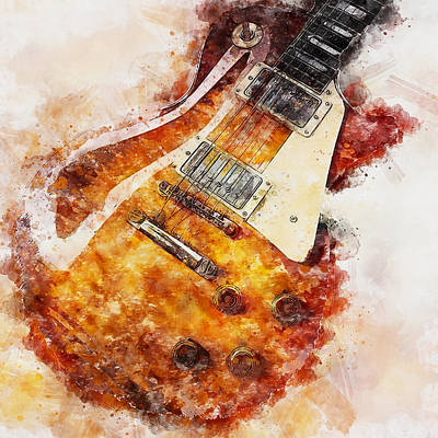 Painting - Gibson Guitar - 02 by Andrea Mazzocchetti