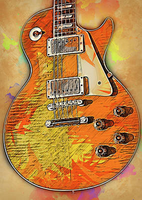 Painting - Gibson Guitar - 03 by Andrea Mazzocchetti