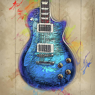 Painting - Gibson Guitar - 04 by Andrea Mazzocchetti