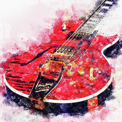 Painting - Gibson Guitar - 06 by Andrea Mazzocchetti