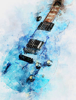 Painting - Gibson Guitar - 07 by Andrea Mazzocchetti