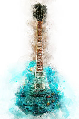 Painting - Gibson Guitar - 08 by Andrea Mazzocchetti