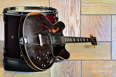 Photograph - Gibson Guitar Image And Drum 1744.007 by M K Miller