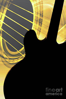 Photograph - Gibson Guitar Image In Silhouette 1744.02 by M K Miller