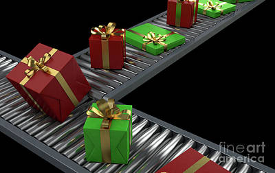 Bicycle Graphics - Gift Boxes On Conveyor by Allan Swart