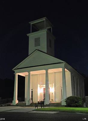 Photograph - Gillisonville Baptist Church Ridgeland South Carolina At Night by Lisa Wooten