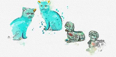 Soap Suds - gilt-bronze and cloisonne enamel cats China watercolor by Ahmet Asar by Ahmet Asar