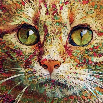 Digital Art - Ginger Cat Art by Peggy Collins