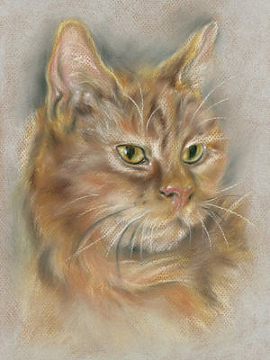 Pastel - Ginger Tabby Cat With Black And White Whiskers by MM Anderson