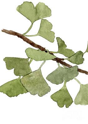 Gingko Wall Art - Painting - Gingko Leaf Part One Canvas Watercolor Painting Medicinal Plant Art Print Decor by Joanna Szmerdt