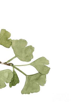 Gingko Wall Art - Painting - Gingkoo Biloba Leaf Part Two Botanical Painting Tree Art Living Room Decor by Joanna Szmerdt