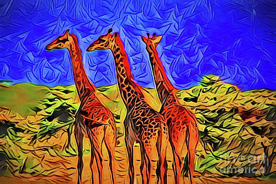 Painting - Giraffe A18-11 by Ray Shrewsberry