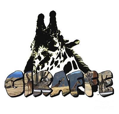 Digital Art - Giraffe Big Letter by Colleen Cornelius