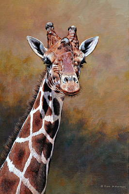 Painting - Giraffe Portrait by Alan M Hunt by Alan M Hunt